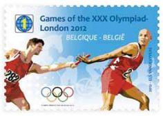 """Belgique, timbre """"athlétisme"""" des Jeux Olympiques de Londres 2012 © DR."""