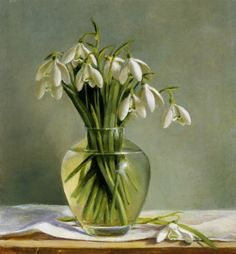"Susan Bull Riley. ""Snowdrops in a Glass Vase."" Oil on board, 8X9. Sold."