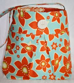 Pleated Hobo Purse in Blue & Orange by CraftingTree on Etsy, $45.00