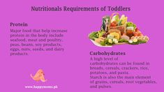 Nutritional requirements of toddlers Toddler Nutrition, Nutritional Requirements, Soy Products, Poultry, Toddlers, Seafood, Protein, Iron, Foods