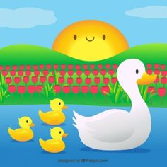 Mother duck with her little songs