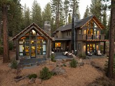 I like the idea of two cabins connected with a porch between them.