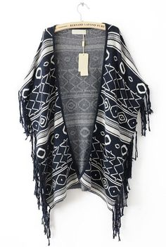 Geometric Print Cape Sweater