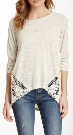 Crochet Inset Sweater ♥I have the sweater with the crochet on the shoulders now I need this one!!