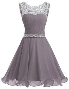 Dresstells® Short Chiffon Open Back Prom Dress With Beading Evening Party Dress Grey Size 6 Open Back Prom Dresses, Hoco Dresses, Party Dresses For Women, Dance Dresses, Evening Dresses, Formal Dresses, Dress Prom, Chiffon Dresses, Pink Dresses