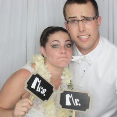 Mr. and Mrs. fun photo booth picture!  Photo Booth by #fabulousAlexandJosh @cateraoke  www.cateraoke.com E. Alex@cateraoke.com