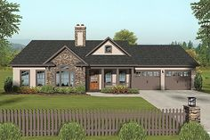 Craftsman Style House Plan - 3 Beds 2 Baths 1399 Sq/Ft Plan #56-618 Exterior - Front Elevation - Houseplans.com