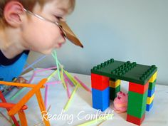 Reading Confetti: The 3 Little Pigs Retelling (small group science) Creative Curriculum Preschool, Preschool Themes, Preschool Activities, 3 Little Pigs Activities, Letter P Activities, Fairy Tale Theme, Fairy Tales, Kindergarten Stem, Pig Crafts