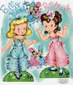 Paper Dolls~Betty Blue Patty Pink - Bonnie Jones - Álbuns da web do Picasa Betty Blue, Vintage Cards, Vintage Postcards, Paper Toys, Paper Crafts, Fun Crafts, Paper Dolls Printable, Vintage Paper Dolls, Japanese Paper