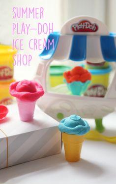 Summer Play-Doh Ice Cream Shop. Have kids create ice cream cones to create a pretend ice cream shop!