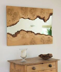 Natural edge wood framed mirror - live edge wood slabs are available at… Wood Framed Mirror, Mirror Set, Wall Mirrors, Bathroom Mirrors, Mirror Ideas, Framed Wall, Wall Art, Jeep Mirrors, Big Mirrors