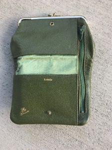 Vintage Kidskin Leather Kiss lock Bi Fold Avocado Green Leather Wallet Wow    eBay