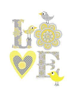 Items similar to Kids Wall Art-Gray -Yellow Love print- Art Decor on Etsy Art Mots, Wall Design, Design Art, Art Wall Kids, Wall Art, Decoupage, Grey Yellow, Yellow Rugs, Belle Photo