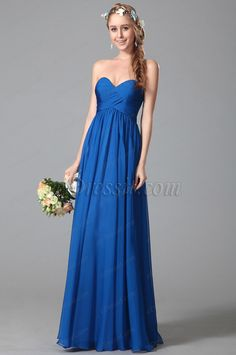 Simple Strapless Sweetheart Empire Waist Blue Bridesmaid Dress (07150605)