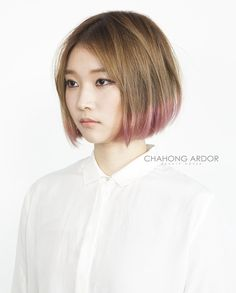 #pink #honey #brown #twotone #hair #color #beauty #cut