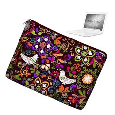 Laptop Sleeve 13 inch MacBook Case Apple MacBook Pro 13 Case zipper padded - Birds of Norway Macbook Pro 17 Inch, Macbook Pro 13 Case, 17 Inch Laptop, Macbook Laptop, Apple Macbook Pro, Laptop Case, Jewel Colors, Lining Fabric, Handmade Bags