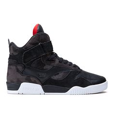 Athletic-inspired high top is constructed from premium materials showcased in a design dominated by dramatic arcing overlays, a long vamp, a tall tongue, and a Velcro strap for extra support. Generous interior padding and a lightweight SUPRAFOAM midsole with a dual traction rubber outsole ensure a comfortable, secure ride.