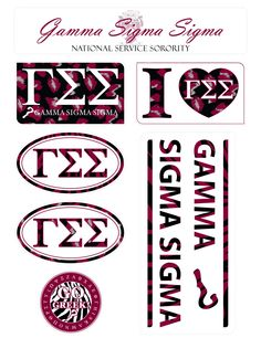 Gamma Sigma Sigma Animal Print Stickers