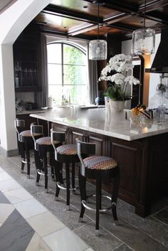 Kitchen design @platnerandco  #jamesmagni #stools #missonifabric