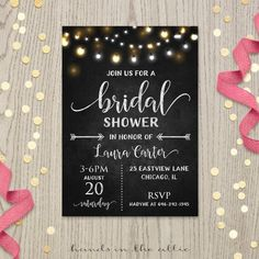 Bridal shower invitation printable invites rustic chalkboard black and white card champagne brunch and bubbly fairy string lights DIGITAL by HandsInTheAttic