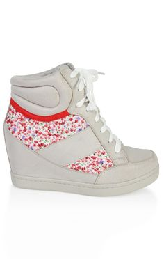 Deb Shops lace up velcro #sneaker #wedge with #floral inset