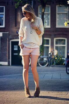 White sweater, pink shorts