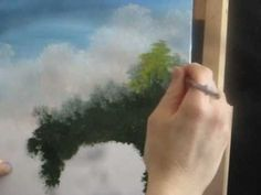 Paint Green TREES in a LANDSCAPE wonderful easy painting for wall in every home - I GUARANTEE it comes out beautiful its easy/1