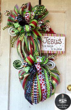 Christmas wreath grapevine wreath deco by MrsChristmasWorkshop