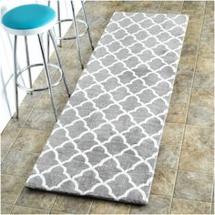nuLOOM Machine-made Kitchen Microfiber Trellis Microfiber Runner Rug (2' 6 x 6') (Grey), Ivory, Size 2' x 6' (Memory Foam, Abstract)