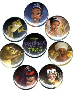 The Princess and the Frog: Set of 8 Buttons-Pins-Badges *Disney* Party Supplies