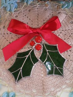 Stained Glass Christmas Ornament Holly by HiDesertArtsandGlass, $18.00