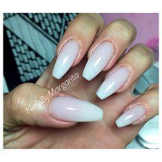 Milky White Gel Ombre Ballerina/Coffin Nails Winter 2015 @NailsByMargarita
