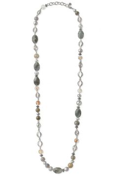 Wendy necklace by Stella & Dot. Photo of labradorite stone, pearl & gold glass bead long necklace.
