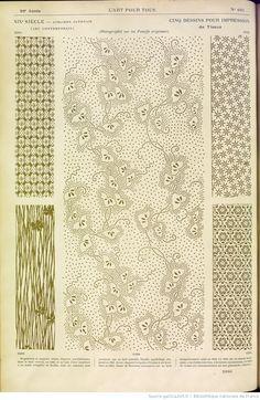 """5 dessins pour impression de tissus: ateliers japonais. in """"L'Art pour tous"""" 1889"""