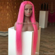 Pure Pink Full Lace Wig With Natural Hairline Glueless Lace Front Human Hair Wigs For Fashion Women Straight Human Hair Lace Wigs Colored Wigs, Barbie Hair, Wigs Online, Human Hair Lace Wigs, Hairline, Hair Beauty, Beauty Makeup, Hairstyles With Bangs, Pink Hair