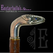 Antique Rosewood Cane with Sapphire Eyes .925 Sterling Snake Head Handle