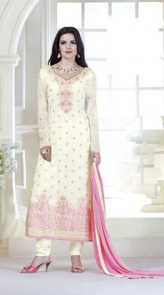 Awesome White Floral Embroidered Long Kameez With Dupatta 3YS1100508 Impressive white pure geogette long churidar suit which is imposingly made with resham and embroidery work. This attire comes with matching bottom and dupatta. This outfit can be stitched in the maximum bust size of 42 inches.