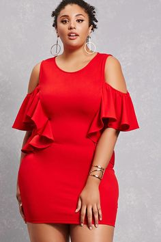 Forever 21+ - A knit sheath dress featuring open shoulders, a dual ruffle front design, elasticized short sleeves, and a high neck.<p>- This is an independent brand and not a Forever 21 branded item.</p>