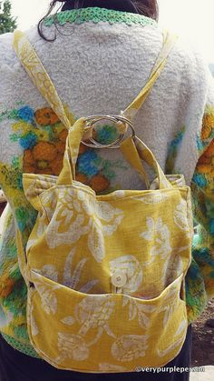 Day in the Life Backpack/Tote combo in yellow linen