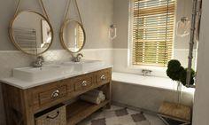 Spokojna i bazująca na naturalności aranżacja łazienki w stylu Hampton przywodzi na myśl wakacyjne skojarzenia. Drewno...