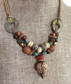 THE COLORS Organic Mahogany Pod Tribal Beads and Carnelian - Natural Turquoise Stones - Primitive Natural Fibers Necklace by HollyoftheEarth on Etsy