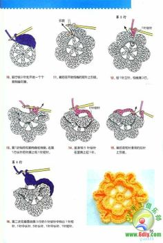 Tutorial for making crocheted flower. Very clear pictures.directions in french Crochet Symbols, Crochet Motifs, Crochet Quilt, Freeform Crochet, Crochet Chart, Irish Crochet, Crochet Flower Tutorial, Crochet Flower Patterns, Crochet Flowers