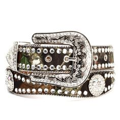 #N35120222 - Blazin Roxx® 1 ½ ladies mossy oak break up camo bling belt - Mossy Oak Break Up camo fabric w/ genuine leather liner - Edges adorned w/ silver colored ball chain - Belt features clear acr