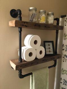 Rustic Bathroom Wood And Stone: Reclaimed Barn Wood Bathroom Shelves Bathroom Wood Shelves, Decor, Home Diy, Barn Wood Bathroom, Wood Bathroom, Bathroom Decor, Shelves, Steampunk Bathroom, Reclaimed Barn Wood