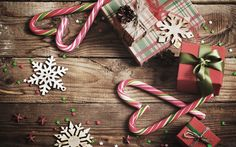Download wallpapers Christmas, New Year, gifts, lollipops, Christmas decorations, snowflakes