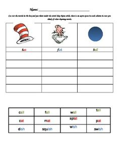 Cat in the Hat rhyming match up  - pinned by @PediaStaff – Please Visit ht.ly/63sNtfor all our pediatric therapy pins