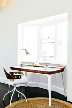 Modern white and walnut desk with coordinating side chair.