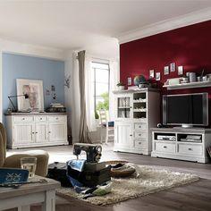 wohnzimmermöbel set in weiß (7-teilig) - gemütliche landhausmöbel