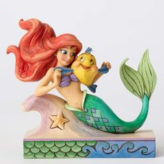 """Disney Jim Shore Traditions Ariel with Flounder """"Fun and Friends"""" New Box Jim Shore's Fun with Friends collection features enchanting Disney Princesses along with their beloved diminutive pals. Ariel"""