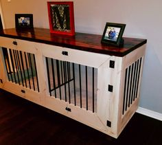 Like this item? Metal Dog Kennel, Custom Dog Kennel, Wooden Dog Kennels, Dog Kennel Cover, Diy Dog Kennel, Kennel Ideas, Wood Dog Crate, Dog Crate Furniture, Puppy Crate